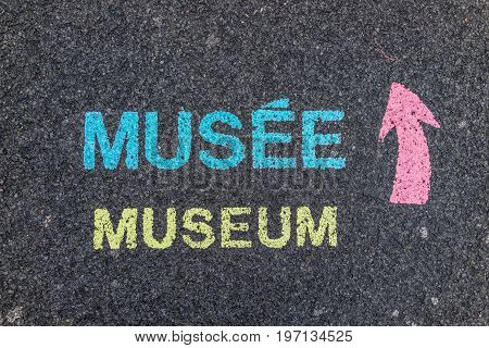 Colorful painted museum sign on asphalt pavement of plaines d'Abraham in Quebec City Canada