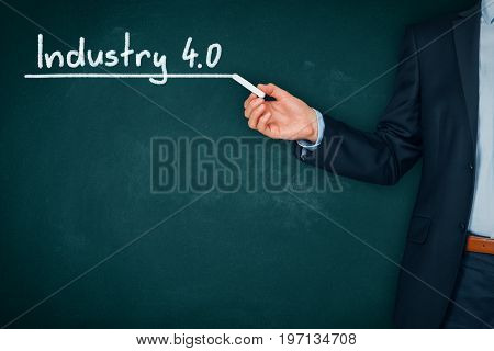 Businessman (manager, teacher, mentor, visionary) with Industry 4.0 heading - title page or background template for business presentation about Industry 4.0.
