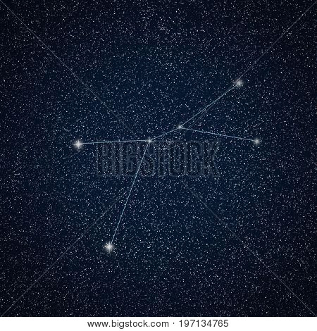 Constellation Cancer in night sky. Cancer Constellation