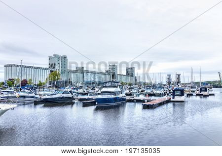 Quebec City, Canada - May 30, 2017: Old Port Area With Bassin Louise And View Of Boats On Water And