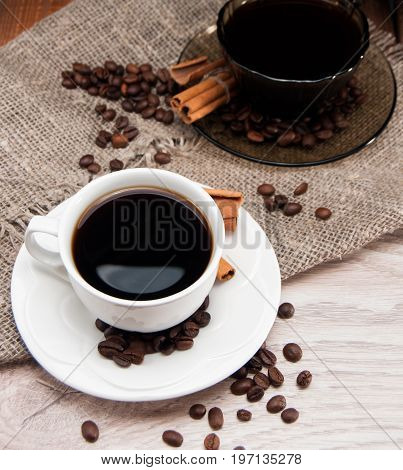 Two Cups Of Morning Aromatic Coffee