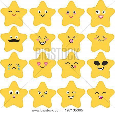 Funny, cute vector set of 16 kawaii stars.