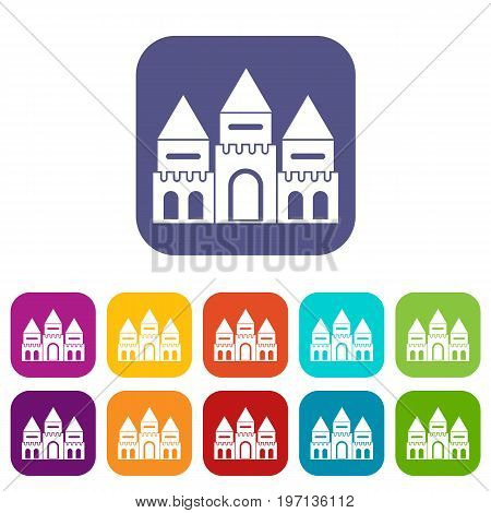 Children house castle icons set vector illustration in flat style in colors red, blue, green, and other
