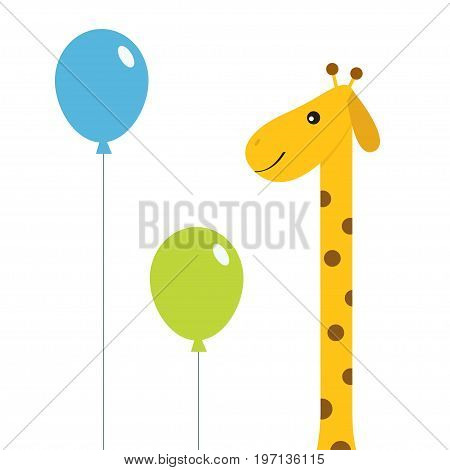 Two balloons. Giraffe with spot. Zoo animal. Cute cartoon character. Long neck. Wild savanna jungle african animals collection. Education cards for kids. Isolated. White background Flat design. Vector