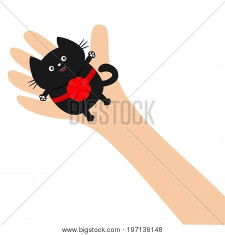 Hand arm holding black cat with red round bow ribbon. Adopt animal pet. Helping hands concept. Funny gift Cute cartoon character Close up body part Flat design style White background. Isolated. Vector