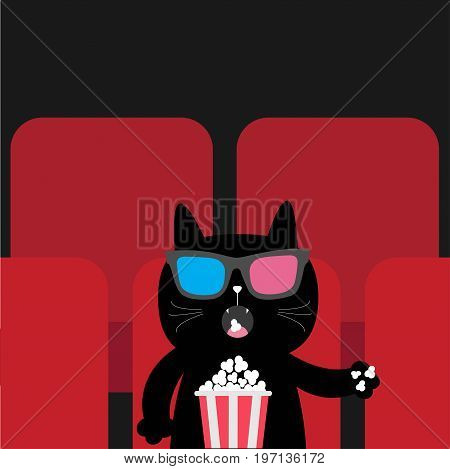 Cat eating popcorn in movie theater. Cute cartoon character. Film show Cinema background. Kitten watching movie in 3D glasses. Red seats hall. Dark background. Flat design Vector illustration