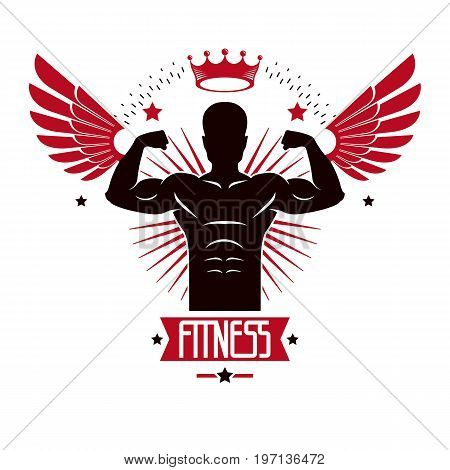 Sport logo for weightlifting gym and fitness club retro style vector emblem with wings. With sportsman silhouette.