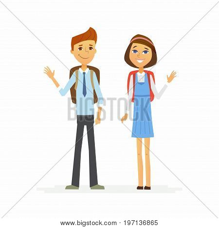 School children - modern vector people characters illustration of happy teenage boy and girl with backpacks waving hands and smiling. Senior students get ready to learn, study, for a new academic year.
