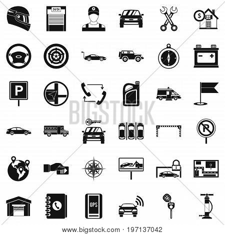 Mechanic auto icons set. Simple style of 36 mechanic auto vector icons for web isolated on white background