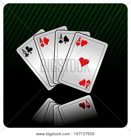 Vector casino illustration with cards on dark background