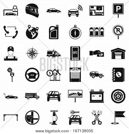 Auto service icons set. Simple style of 36 auto service vector icons for web isolated on white background