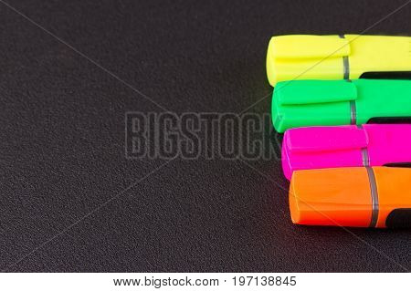 closed markers for design works. copy space background