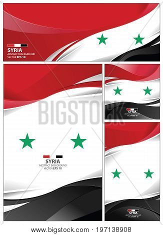 Syria flag abstract colors background. Collection banner design. brochure vector illustration.