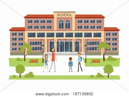 Back to School - modern vector educational facilities building illustration with happy boys and girl with their parents going into. New students get ready to learn, study, for an academic year.