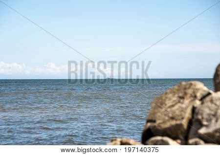 Europe Latvia the cape Kolka place where connect the Baltic Sea and the Gulf of Riga and the location of the beacon.