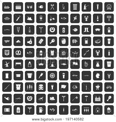 100 beer icons set in black color isolated vector illustration