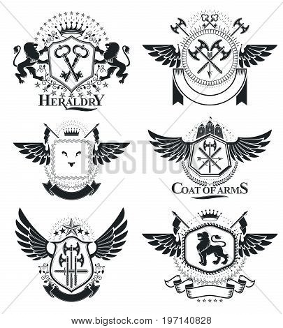 Heraldic Coat of Arms vintage vector emblems. Classy high quality symbolic illustrations collection vector set.