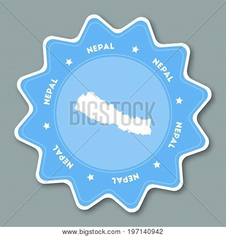 Nepal Map Sticker In Trendy Colors. Star Shaped Travel Sticker With Country Name And Map. Can Be Use