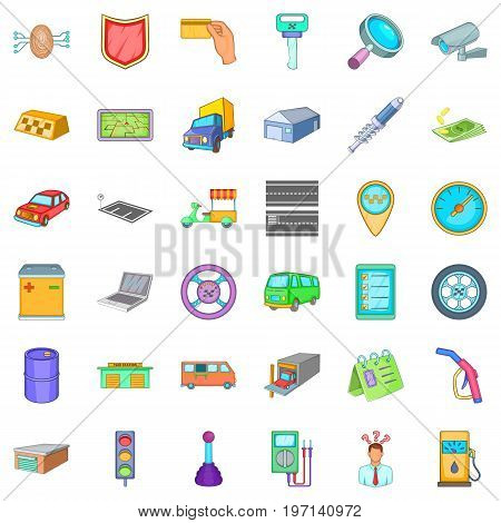 Gas station icons set. Cartoon style of 36 gas station vector icons for web isolated on white background