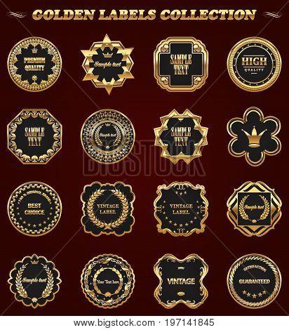 Set of gold framed vector labels - vintage style.