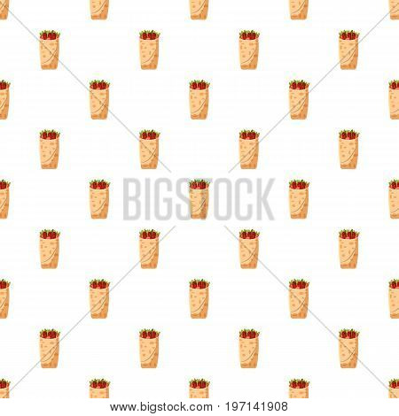 Shawarma pattern seamless repeat in cartoon style vector illustration