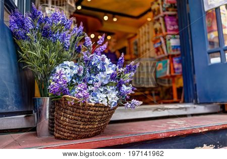 Quebec City, Canada - May 30, 2017: Closeup Of Purple Lavender Flowers In Basket On Front Porch Of S