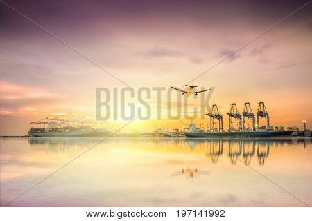 Logistics and transportation of Container Cargo ship and Cargo plane with working crane bridge in shipyard at sunset sky logistic import export background and transport industry