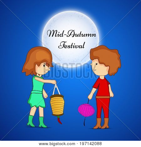 illustration of a boy and girl holding lanterns and moon with Mid Autumn Festival text on the occasion of Mid Autumn Festival