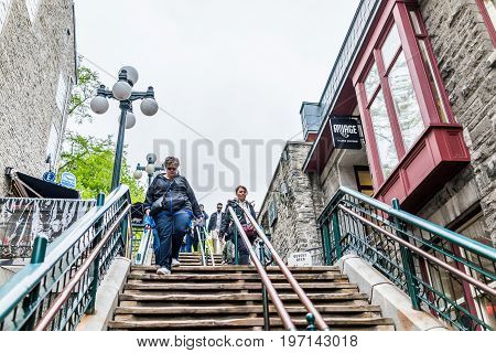 Quebec City, Canada - May 30, 2017: People Walking Down Famous Stairs Or Steps On Lower Old Town Str
