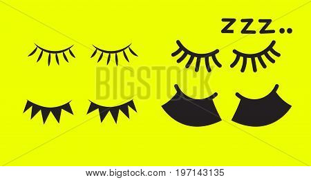 Set of icons of closed female eye with eyelashes of different shapes. Vector illustration
