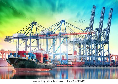 Logistics and transportation of International Container Cargo ship and Cargo plane with working crane bridge in seaport for logistic import export background and transport industry.