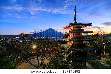 Mt. Fuji with Chureito Pagoda at night Fujiyoshida Japan