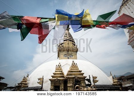 Swayambhunath the ancient stupa and the most tourist attraction on Kathmandu valley in Kathmandu city, Nepal.