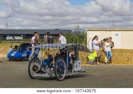 Chartres France - 25 June 2017: Solar powered vehicle racing during the 4th edition of Solar Cup. This is a special race for solar powered vehicles and bicycles held each summer in Chartres France.