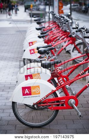 ANTWERP BELGIUM - OCTOBER 2 2016: With 1000 bicycles and 80 stations Velo is among the largest bike sharing systems worldwide.