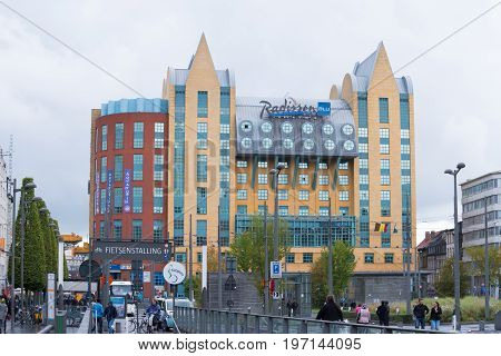 ANTWERP BELGIUM - OCTOBER 2 2016: Exterior of the Radisson Blu Astrid Hotel next to the central station. The hotel offers 247 rooms and suites.