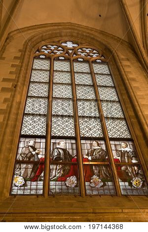 ANTWERP BELGIUM - OCTOBER 2 2016: Window with stained glass in the roman catholic Cathedral of our lady