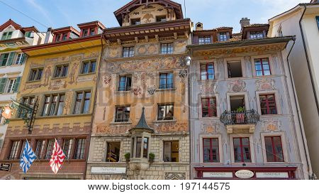 LUCERNE, SWITZERLAND - JULY 04, 2017: View of historic Lucerne city center, Switzerland. Lucerne is the most populous town in Central Switzerland, and a nexus of economics, transportation, culture, and media of this region.