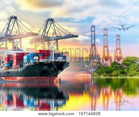 Container Cargo ship and Cargo plane with working crane bridge in seaport at sunset time logistic import export background and transport industry Shipping