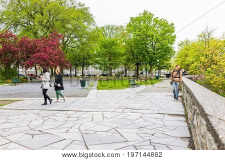 Quebec City, Canada - May 30, 2017: Montmorency Park National Historic Site With People Walking