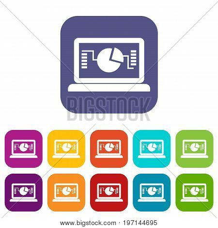 Laptop with business graph icons set vector illustration in flat style in colors red, blue, green, and other