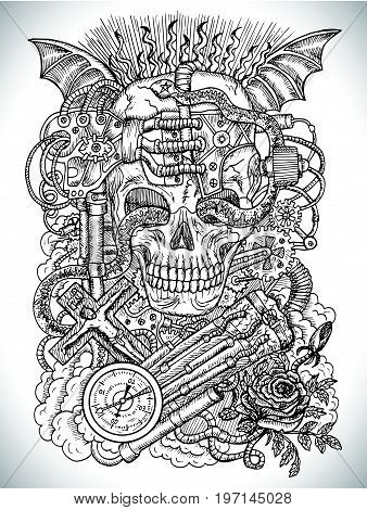 Black and white drawing with scary skull, steampunk and gothic symbols as rose, demon wings, cross, cogs and wheels. Occult and esoteric vector illustration, tattoo concept, engraved background