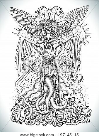 Black and white drawing with evil goddess or female demon with tentacles, skull and mystic spiritual symbols. Occult and esoteric vector illustration, tattoo concept, gothic engraved background