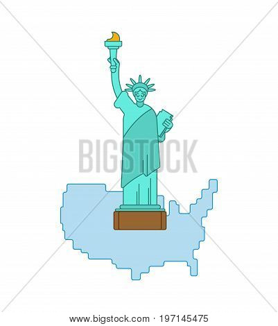 Statue Of Liberty And Map United States. Landmark America. Usa Sculpture New York. American Symbol O