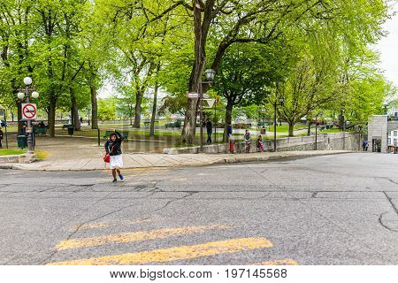 Quebec City, Canada - May 30, 2017: Montmorency Park National Historic Site With People Crossing Roa