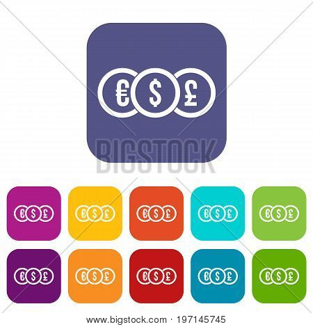 Euro, dollar, pound coin icons set vector illustration in flat style in colors red, blue, green, and other