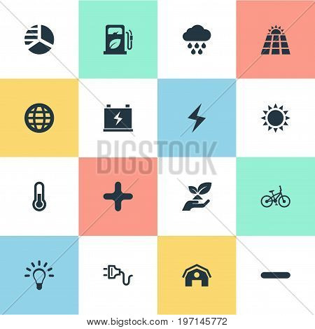 Elements Cross, Barn, Cloudburst And Other Synonyms Delete, Station And Globe.  Vector Illustration Set Of Simple Power Icons.