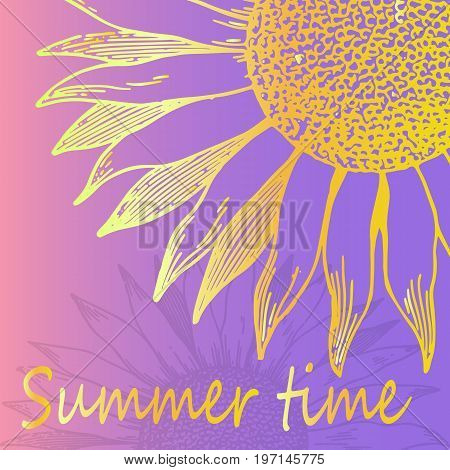 Bright sunflower poster close-up. A bright thematic poster is an idea for a greeting card. Summer time