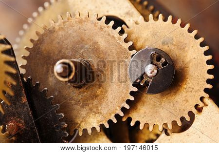 Vintage cogs gears wheels collection set. Aged clockwork mechanism parts macro view. Different cogwheels teeth shapes objects with textured metal surface. Shallow depth field photo