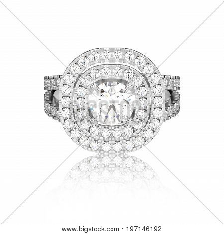 3D illustration isolated white gold or silver ring with diamonds with reflaction on a white background